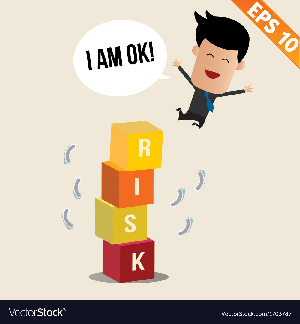 Cartoon businessman jump off risk block - - vector