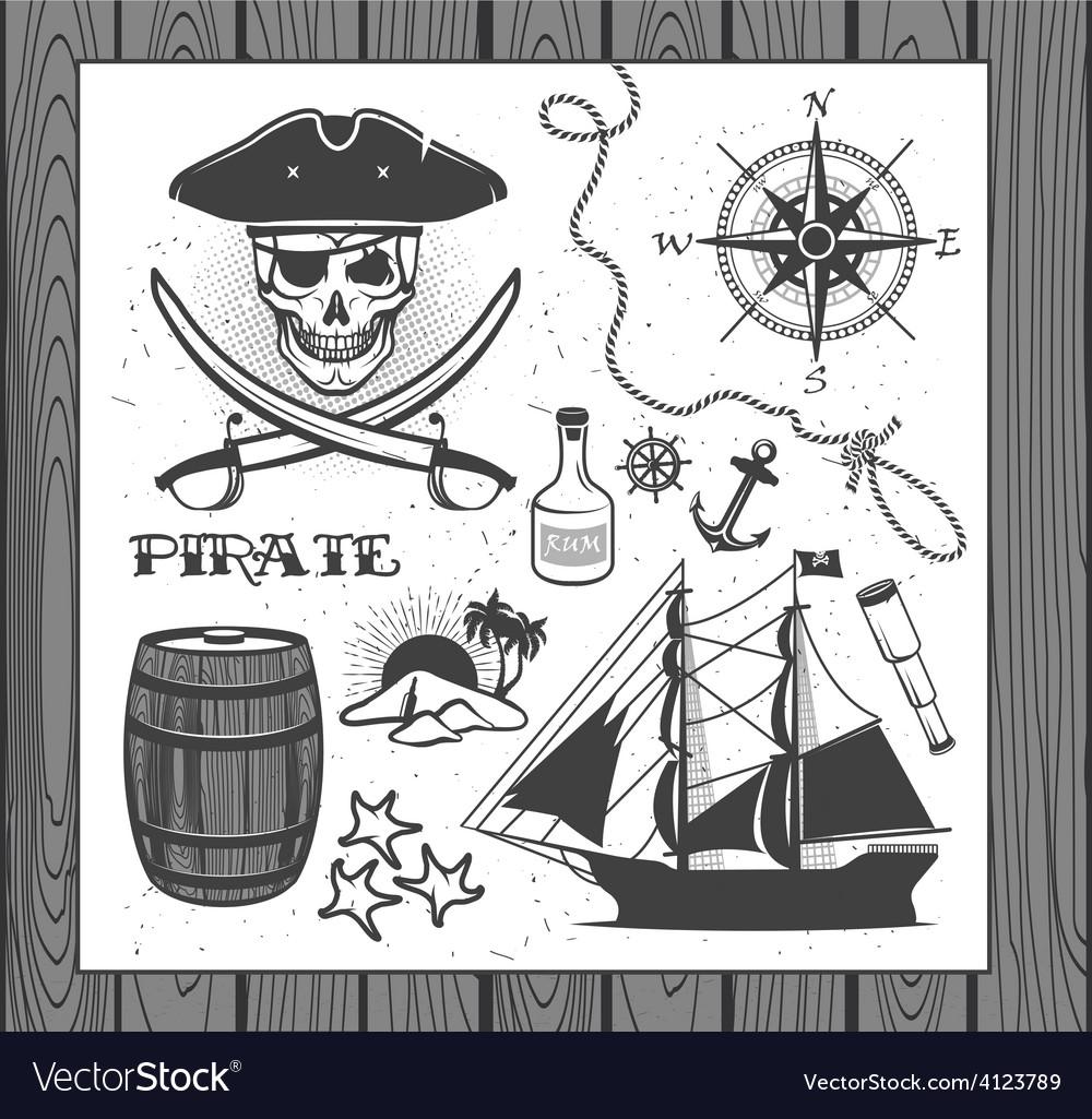 Set of vintage pirate elements vector