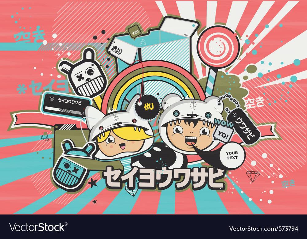 Japanese anime design style vector