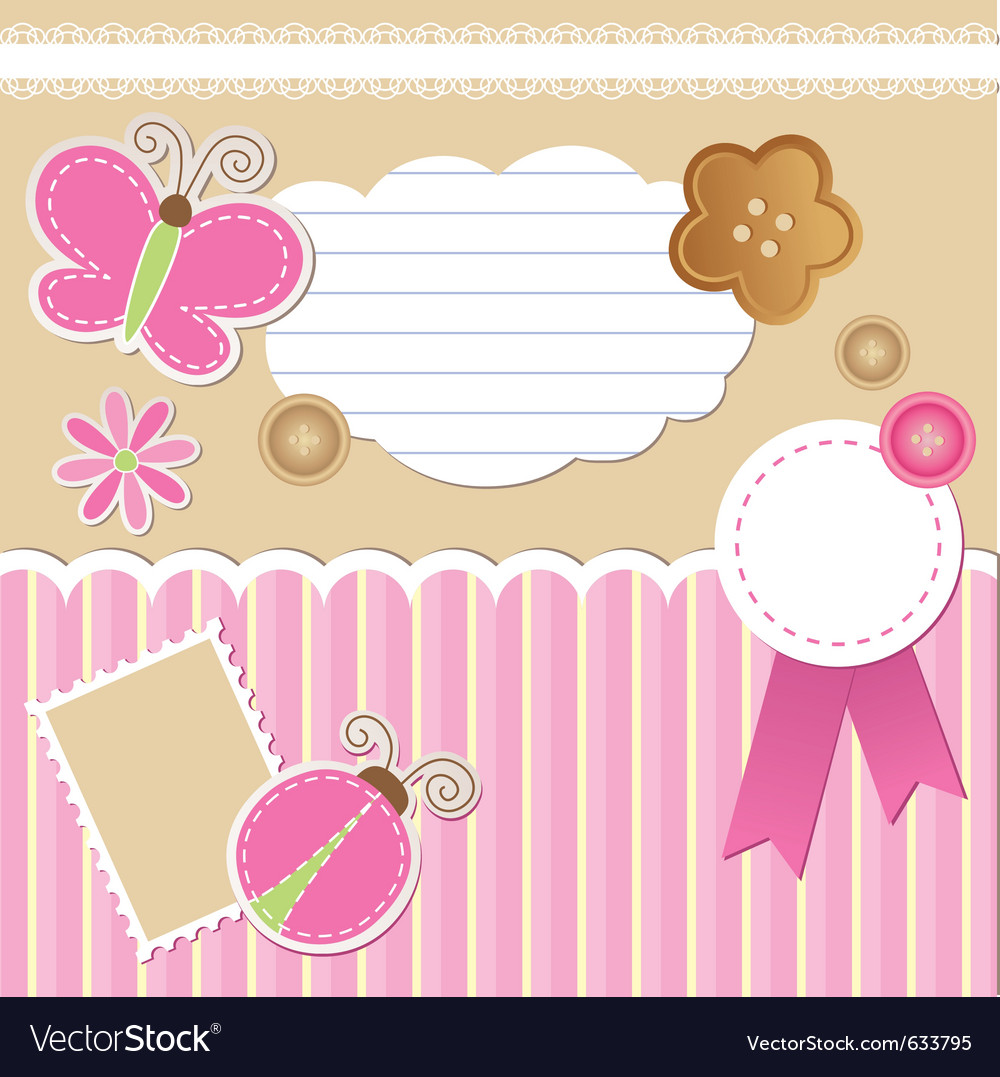 Set of scrapbook elements vector