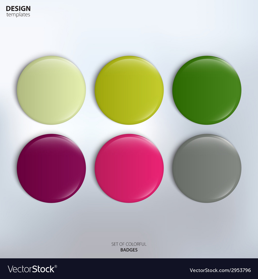Set of colorful glossy badges vector