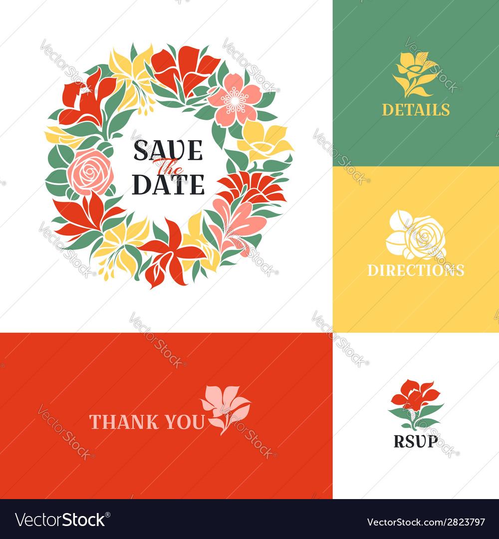 Floral wreath flat colorful design vector