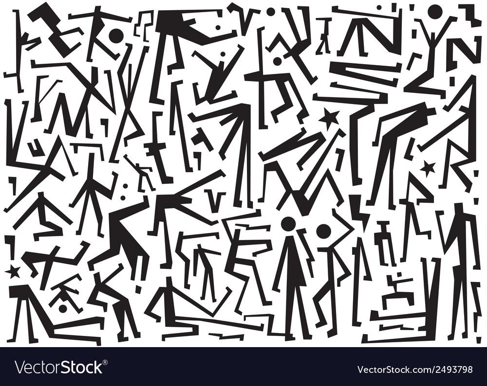 Dancing people symbols vector