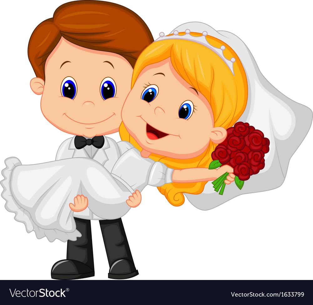 Cartoon kids playing bride and groom vector