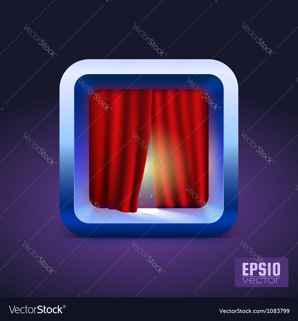 Theater curtain icon ios style vector