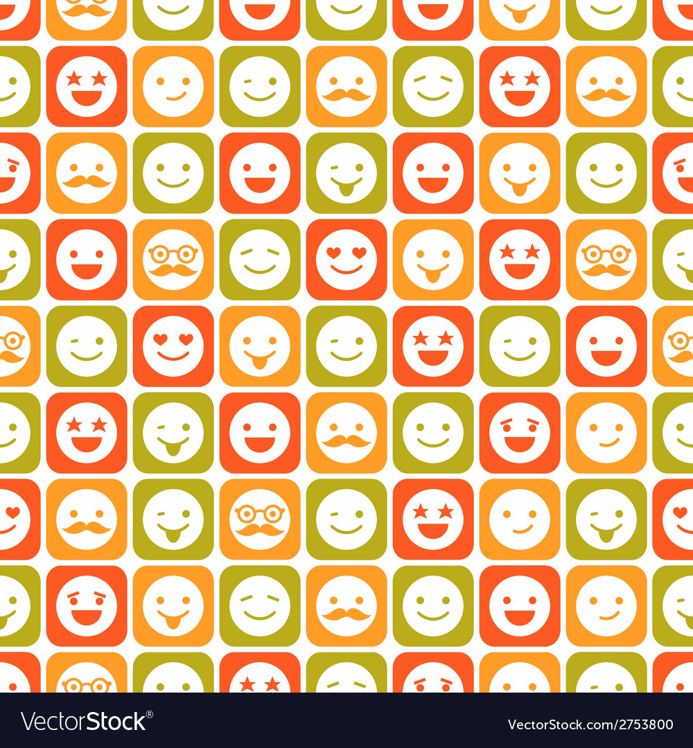Seamless pattern of color smile different emotions vector