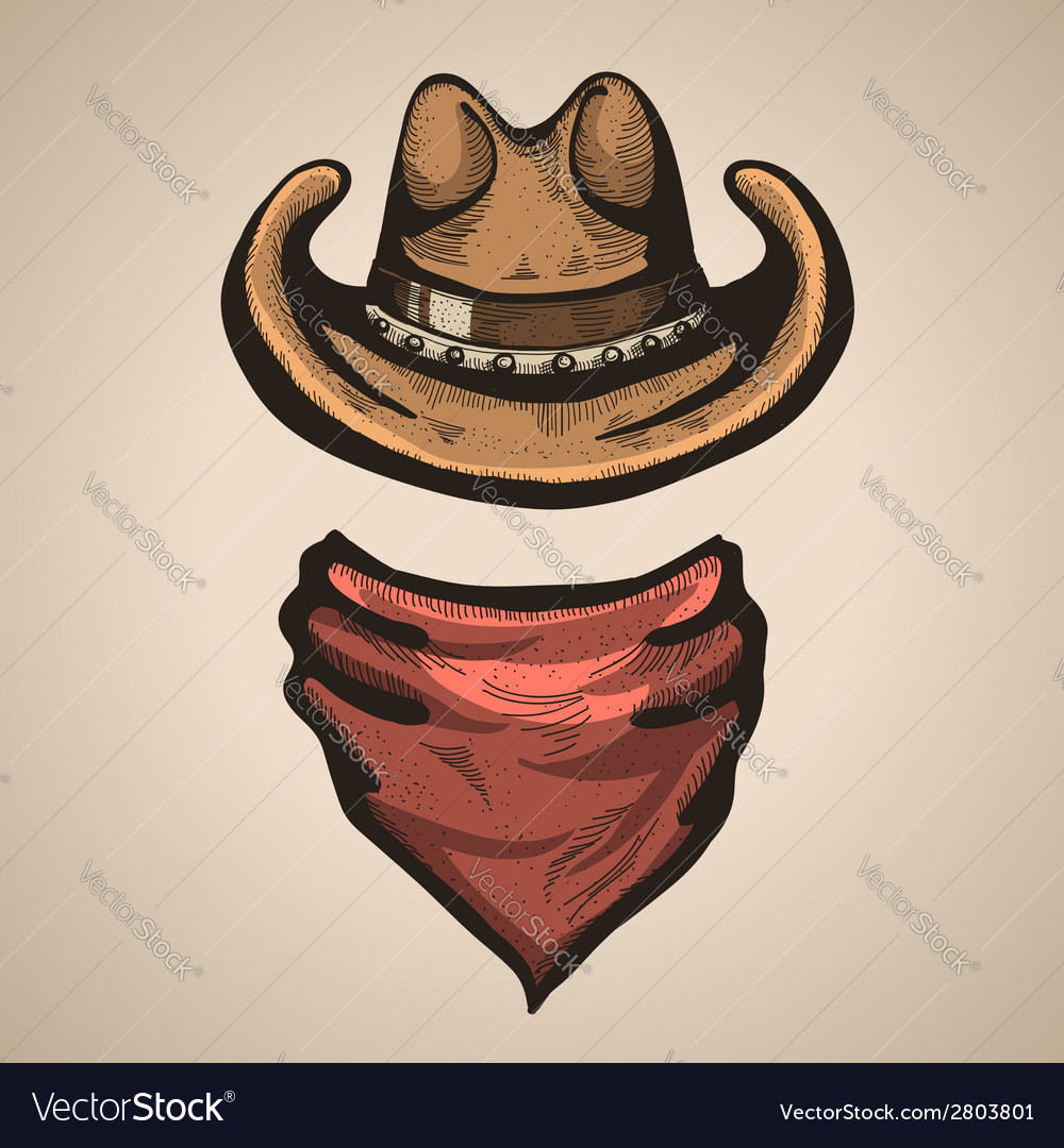 Cowboy hat and bandana scraf vector