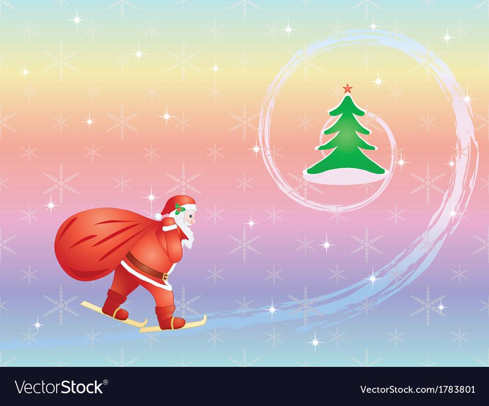 Santa skiing to christmas tree vector
