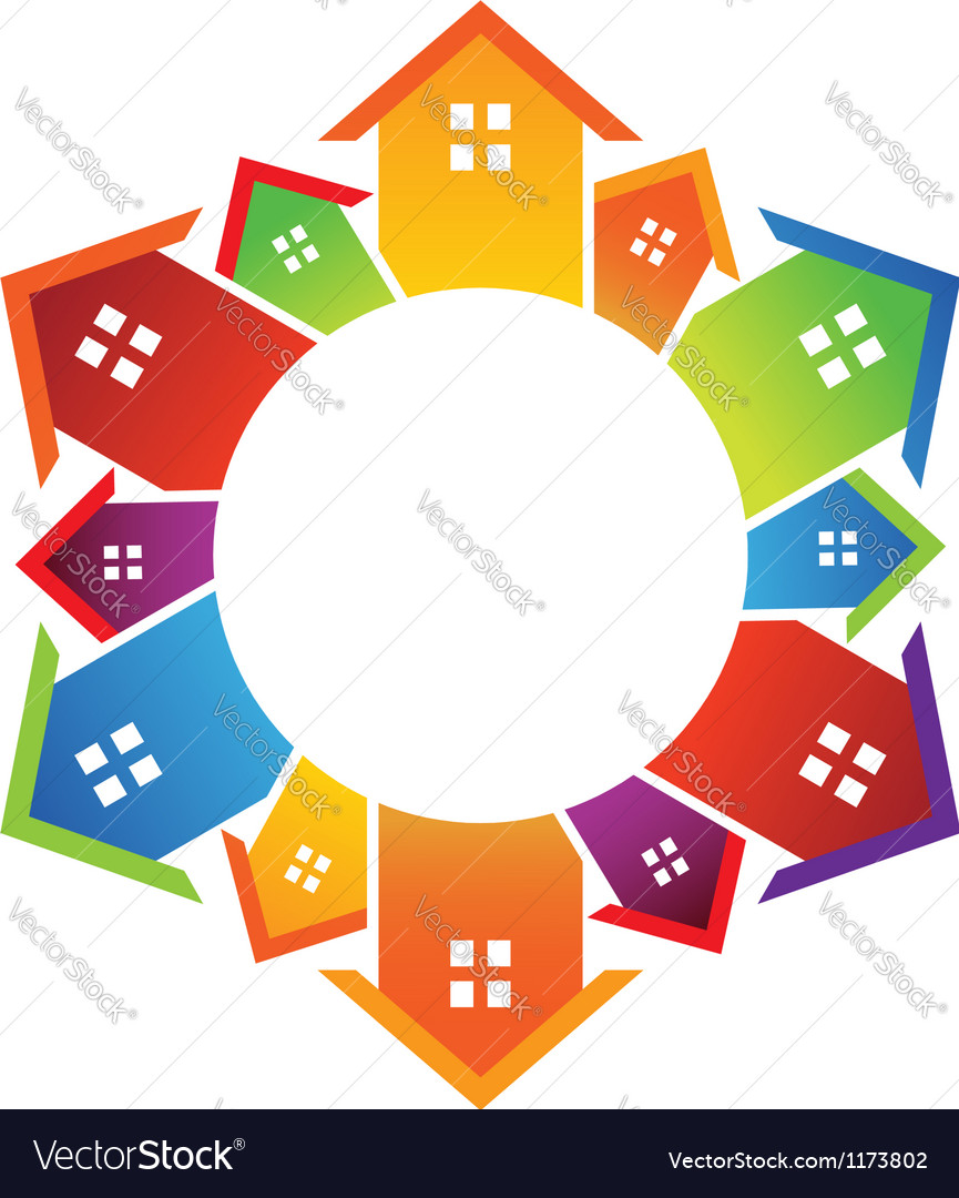 Circle of houses vector