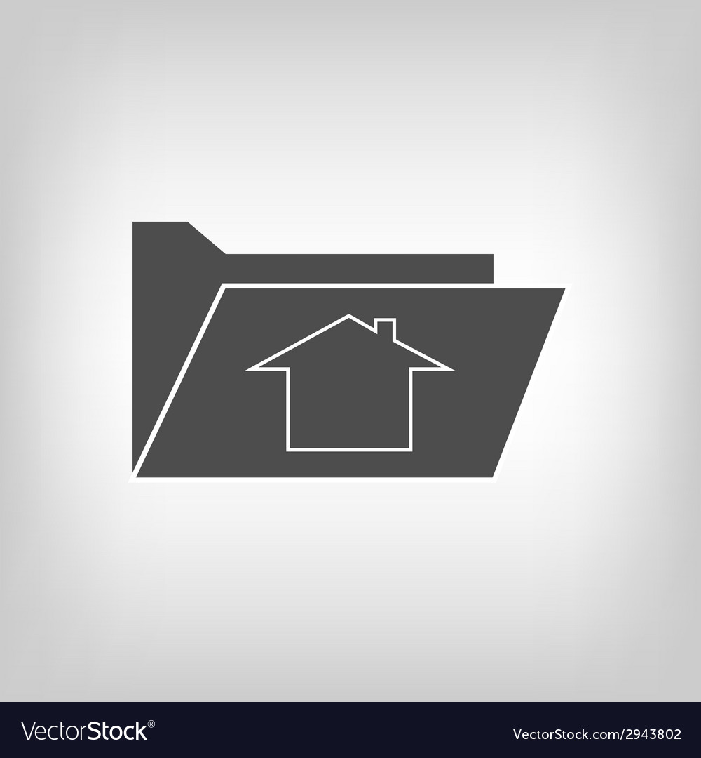 Computer folder with house sign vector