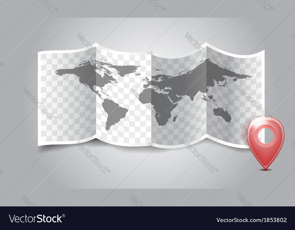 Folded world map with gps marks vector