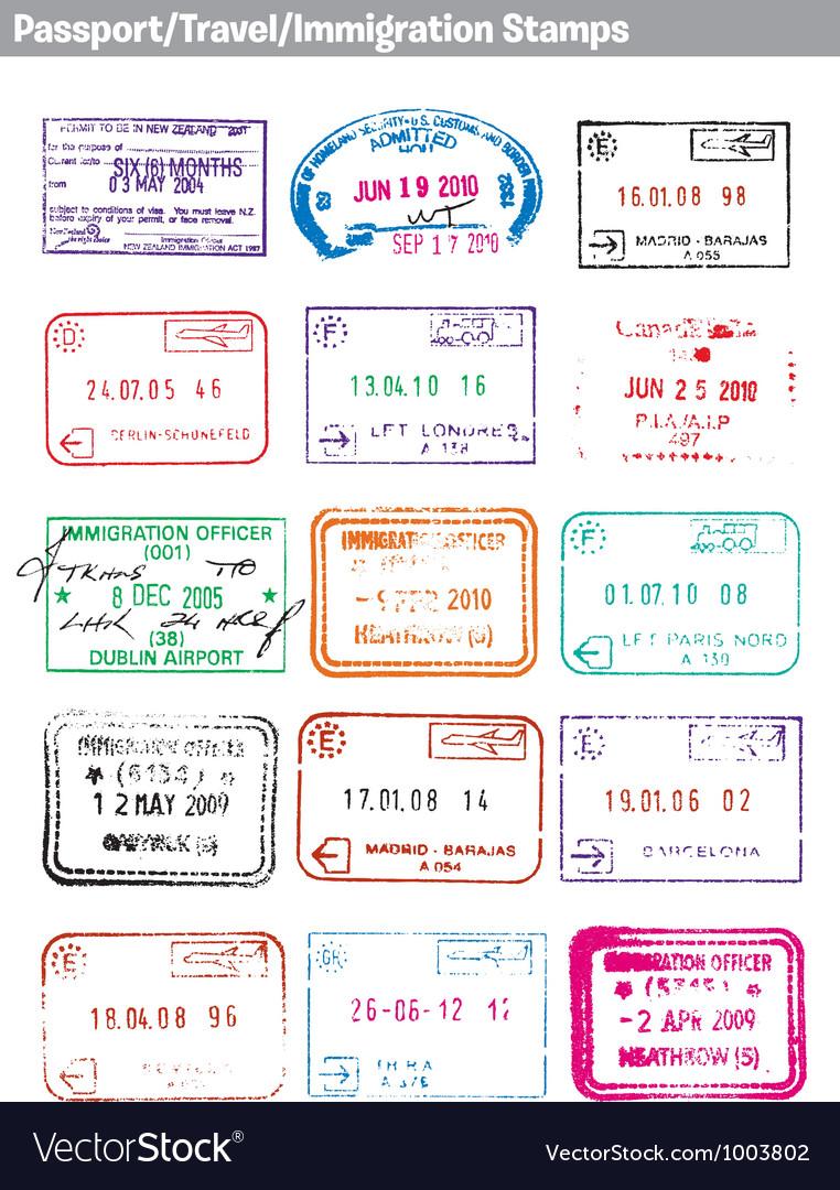 Passport travel immigration stamps vector