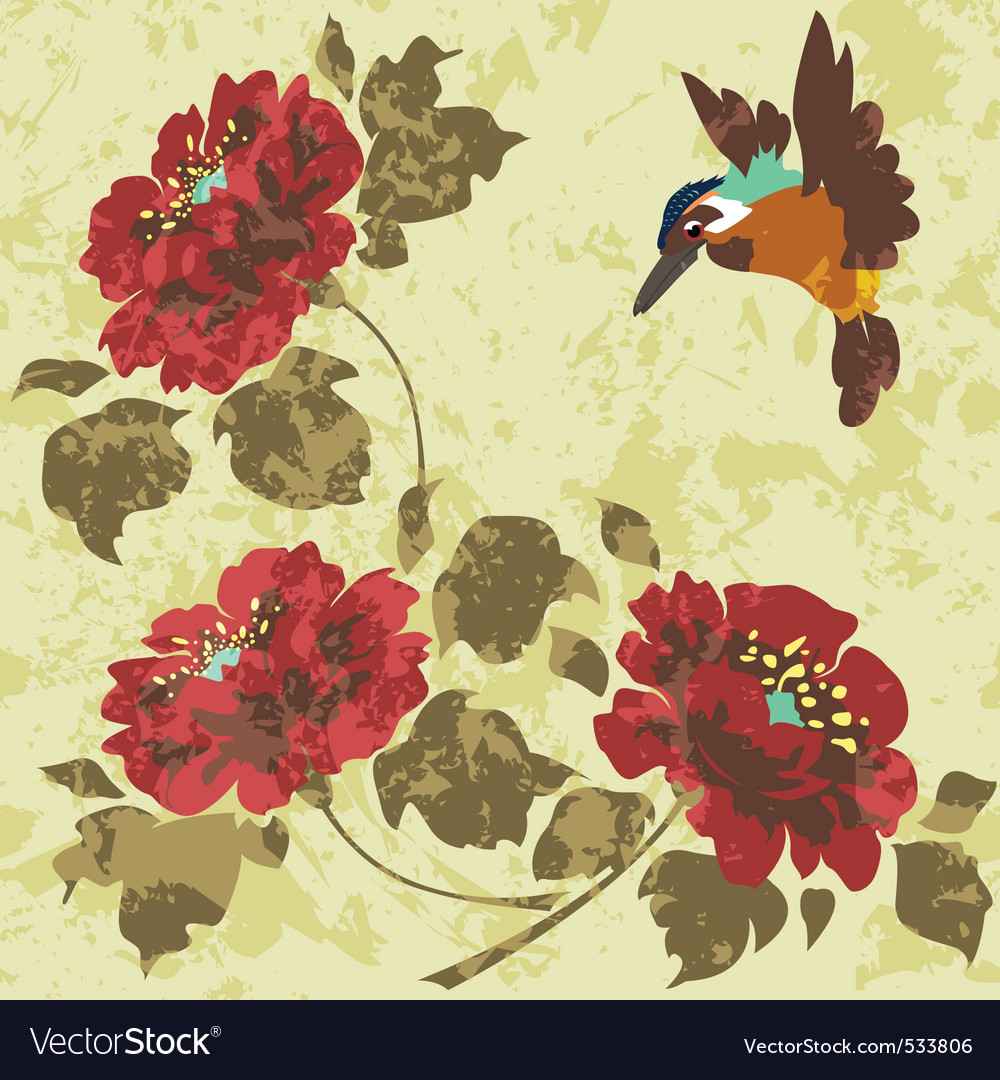 Old dirty asian wallpaper with flowers and birds s vector