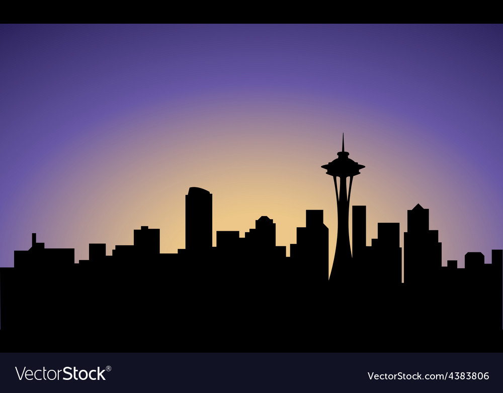 Silhouette of seattle city usa vector