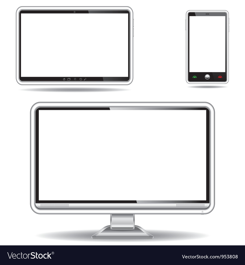 Silver monitor tablet and smart phone vector