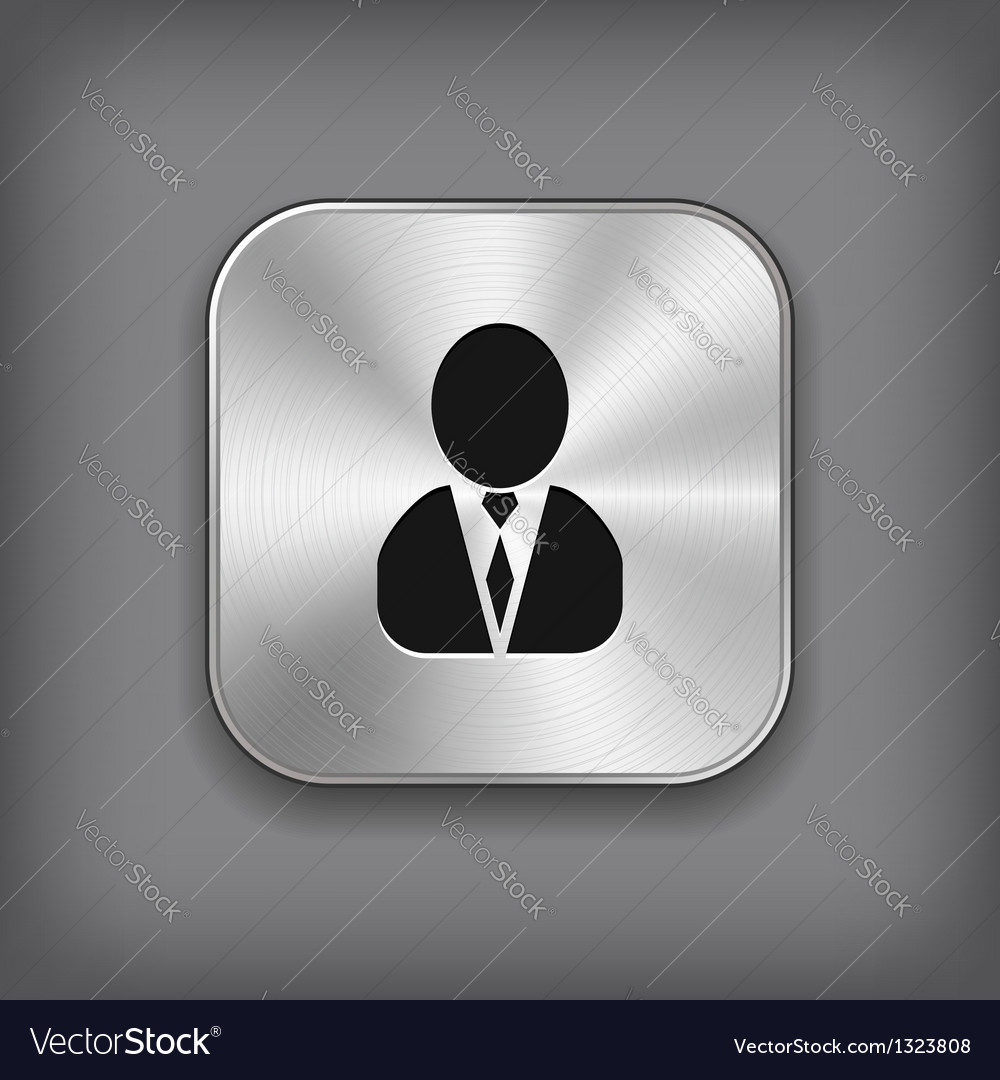 User icon - metal app button vector