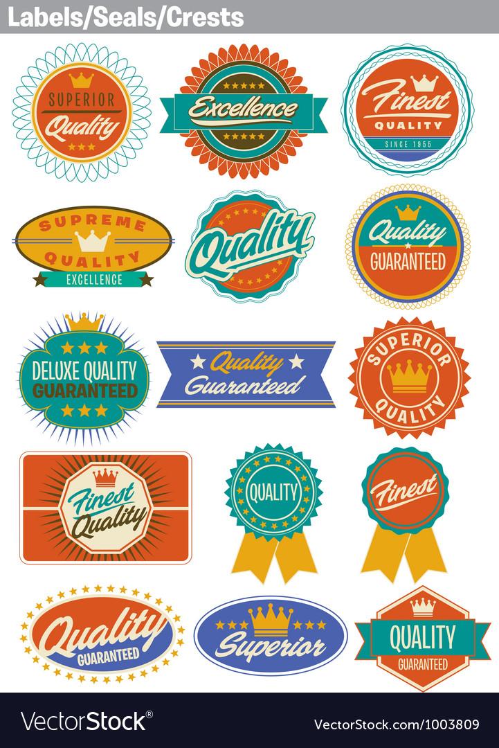 Labels seals crests vector