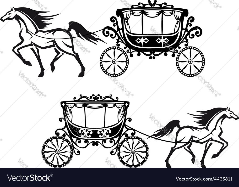 Antique decorated carriages with horses vector