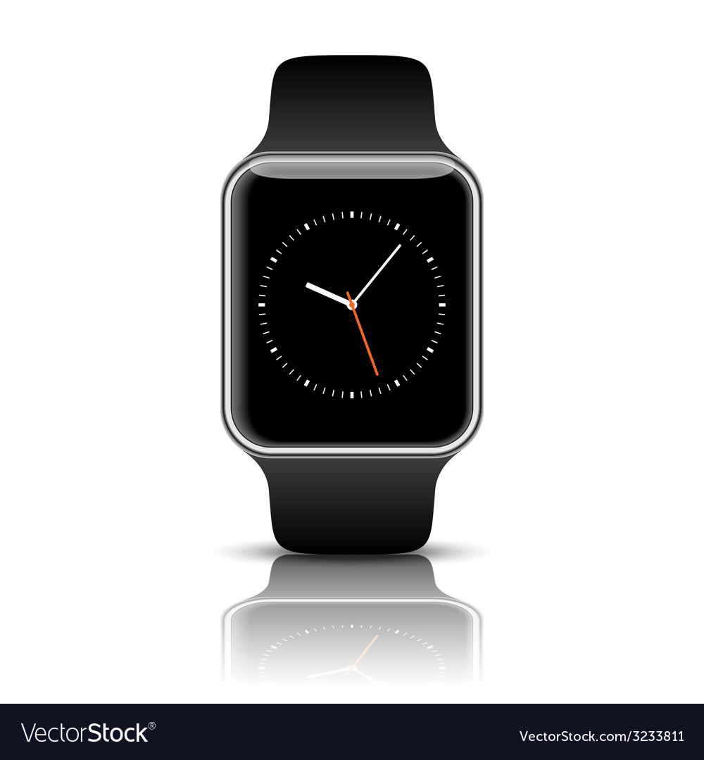 Smart apple watch isolated with icons on white vector