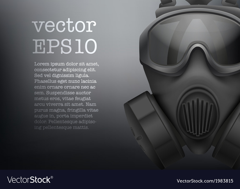 Background of military black gasmask vector
