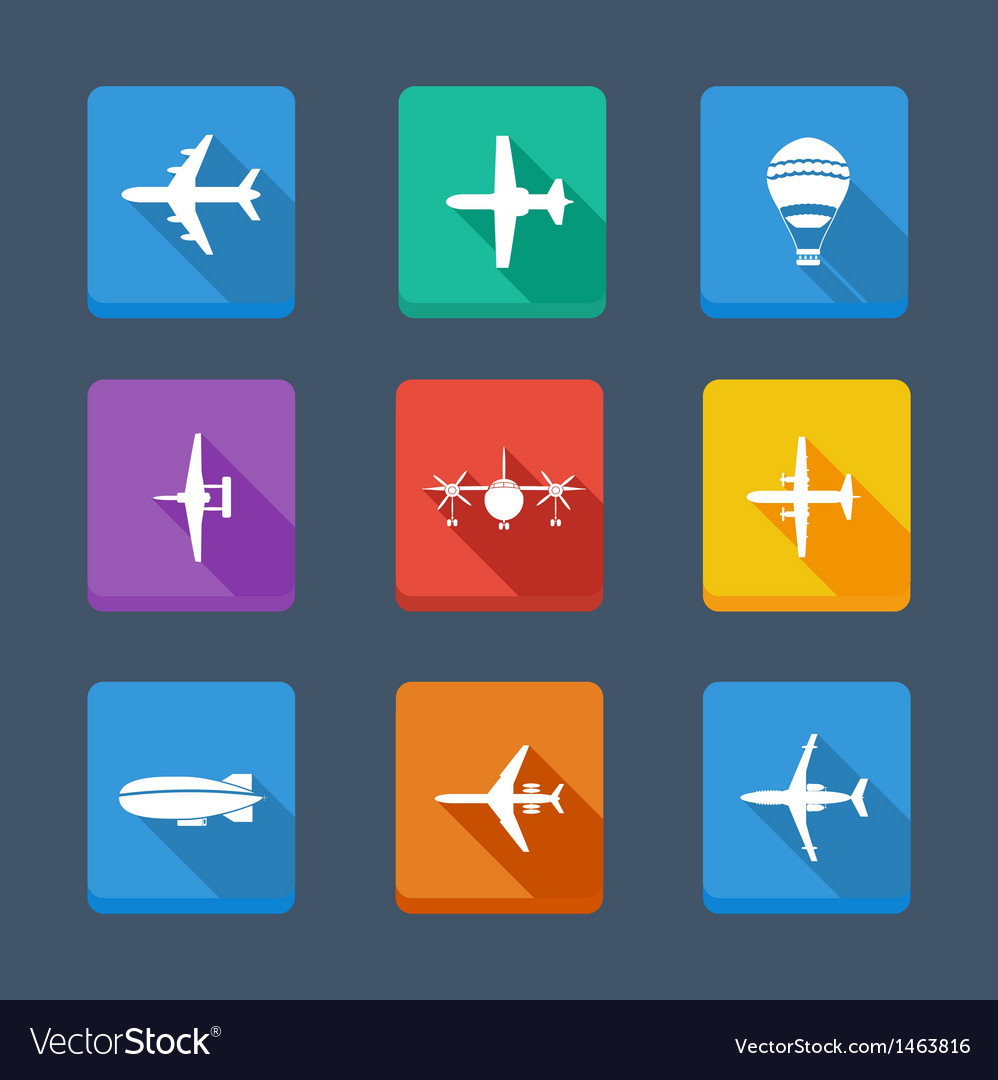 Collection airplane and gray set icons vector