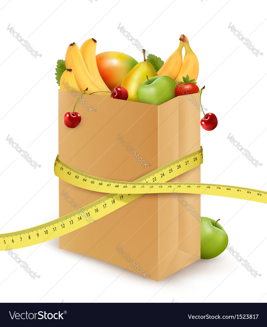 Fresh vegetables in a paper grocery bag with vector