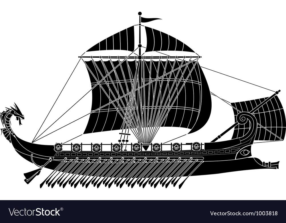 Ancient fantasy ship vector