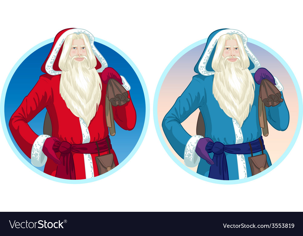 Christmas characters father frost and pere noel vector