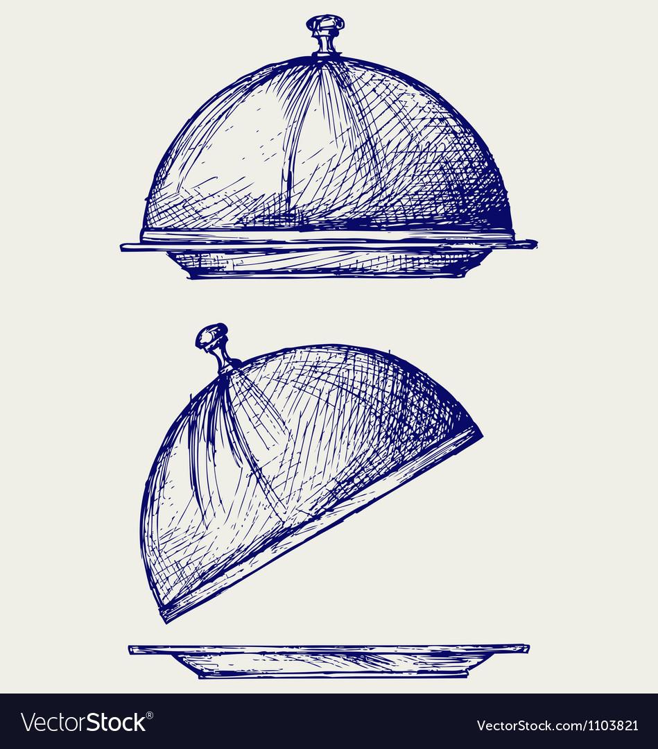 Cloche with open lid vector