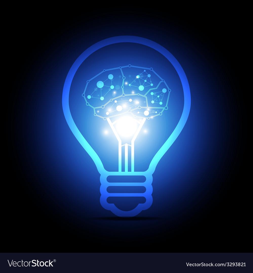 Digital brain inside electric bulb vector