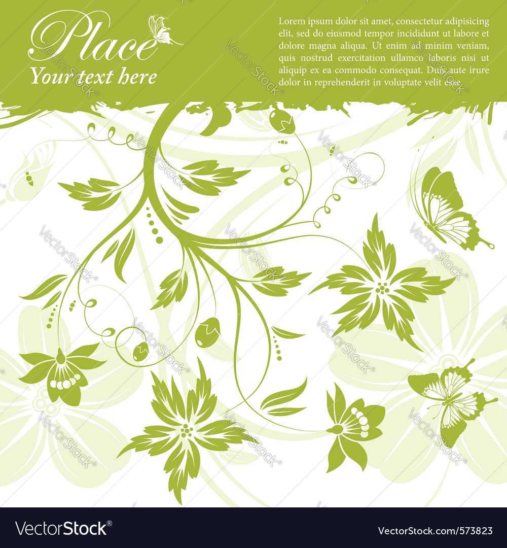 Grunge floral frame butterfly vector
