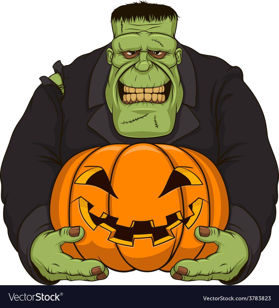 Zombie with pumpkin vector