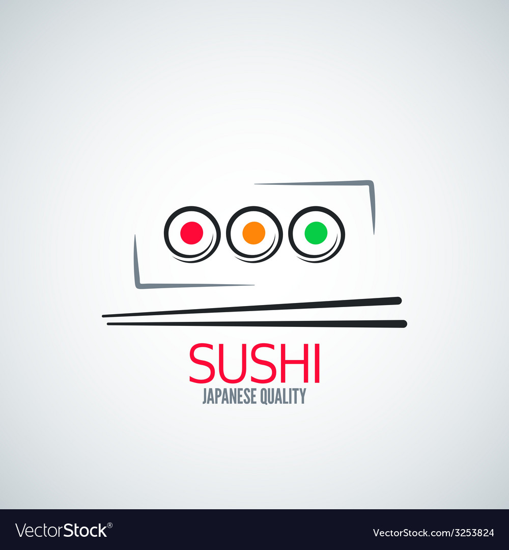 Sushi roll plate menu background vector