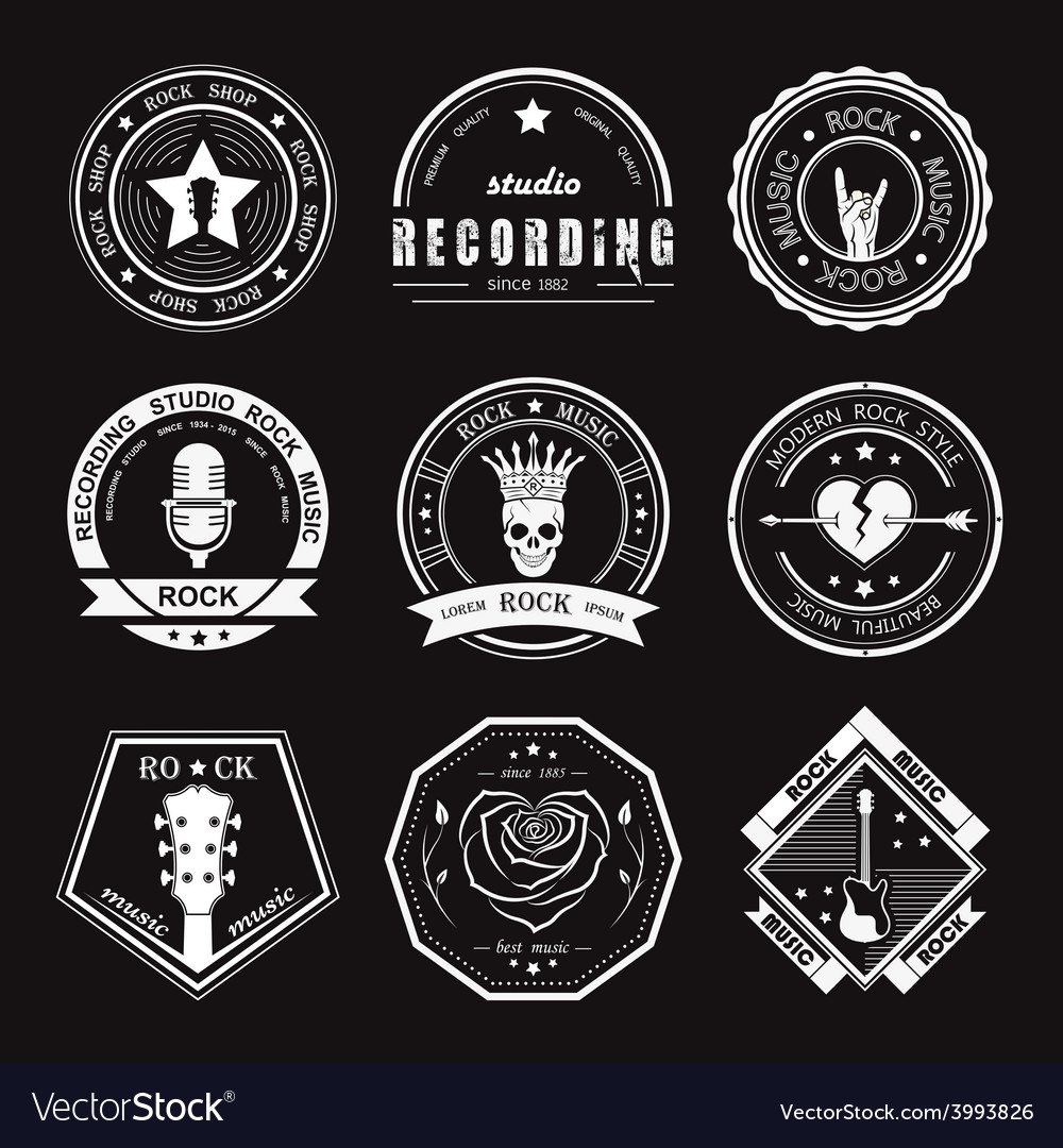 Set of vintage logos of rock music vector