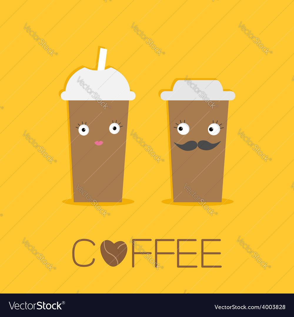 Two disposable coffee paper cups eyes mustache vector