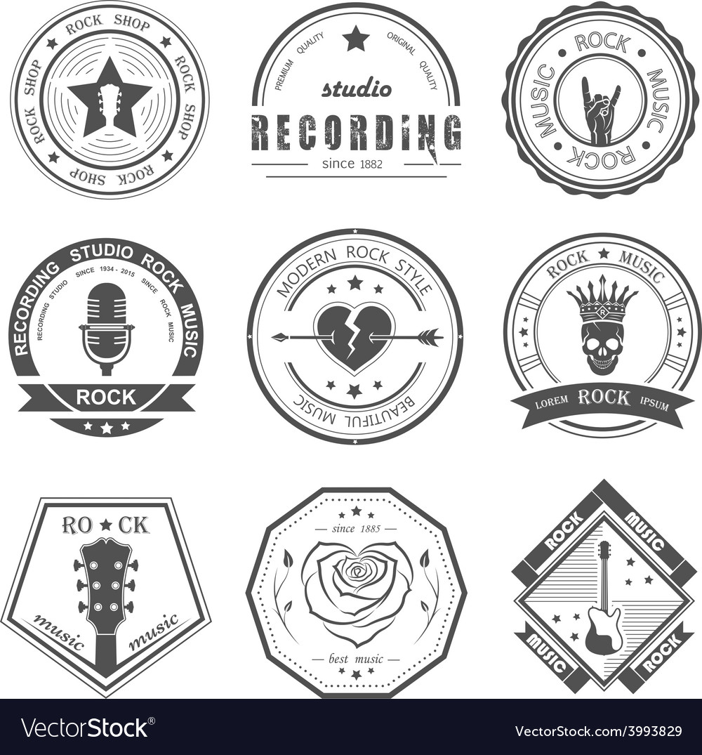 Set of vintage logos of rock music vector