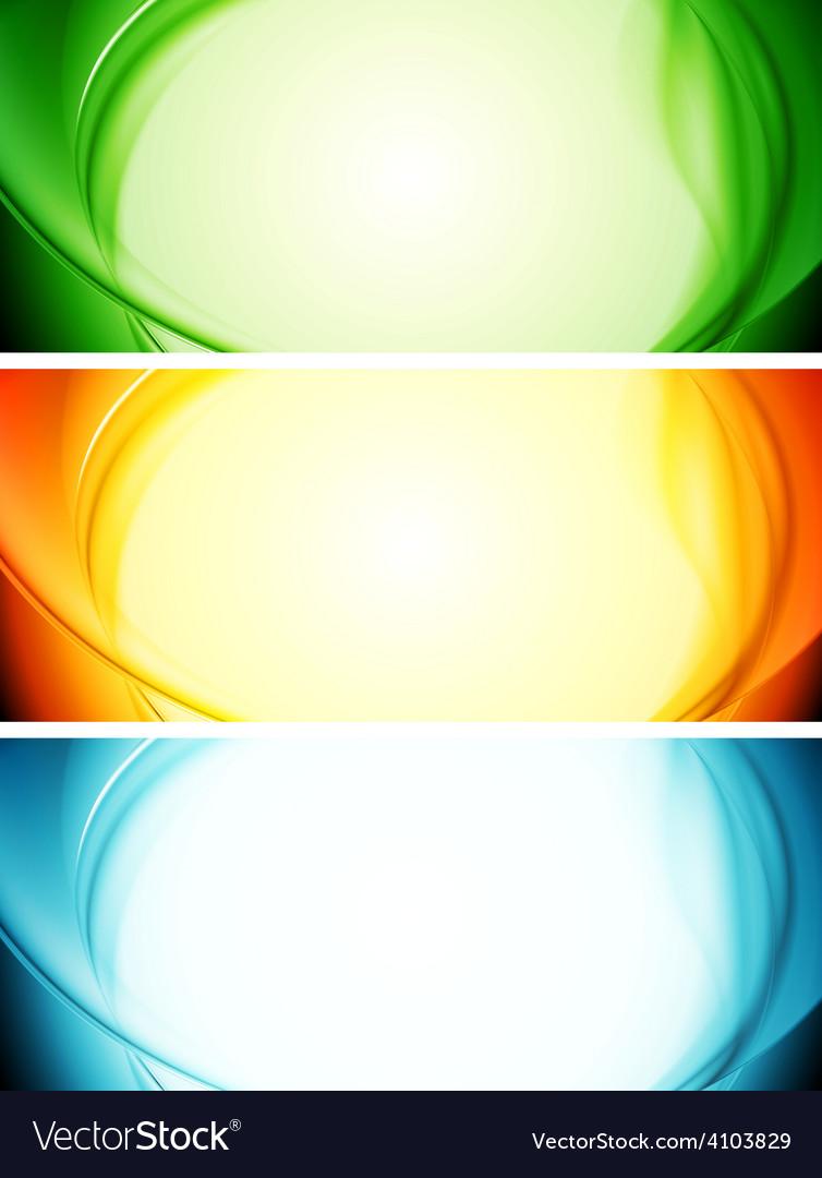 Shiny wavy banners vector