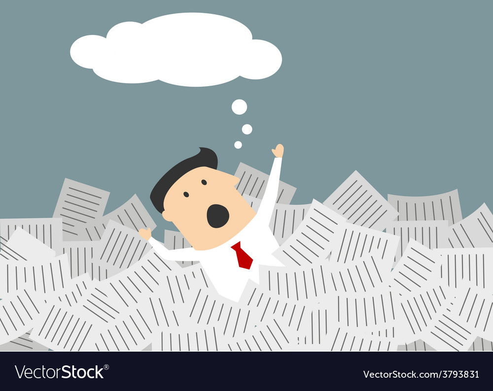 Businessman drowning in a sea of paperwork vector