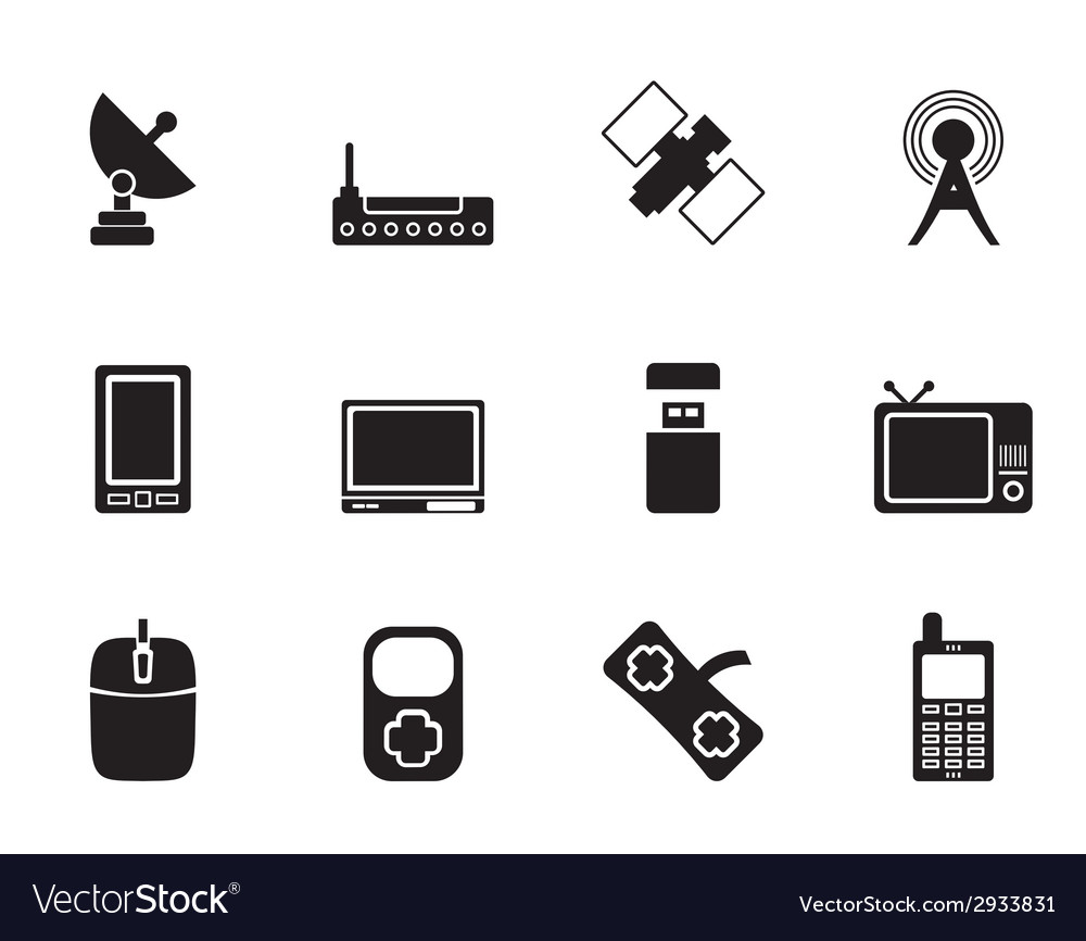 Silhouette technology and communications icons vector
