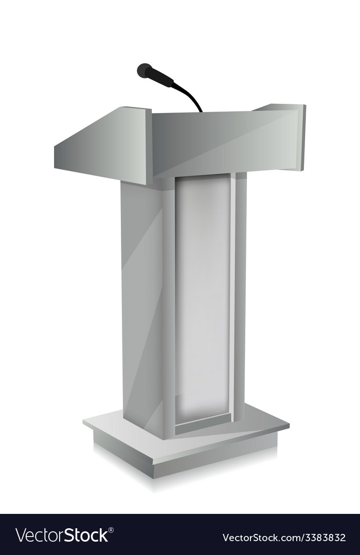 Podium with mic vector