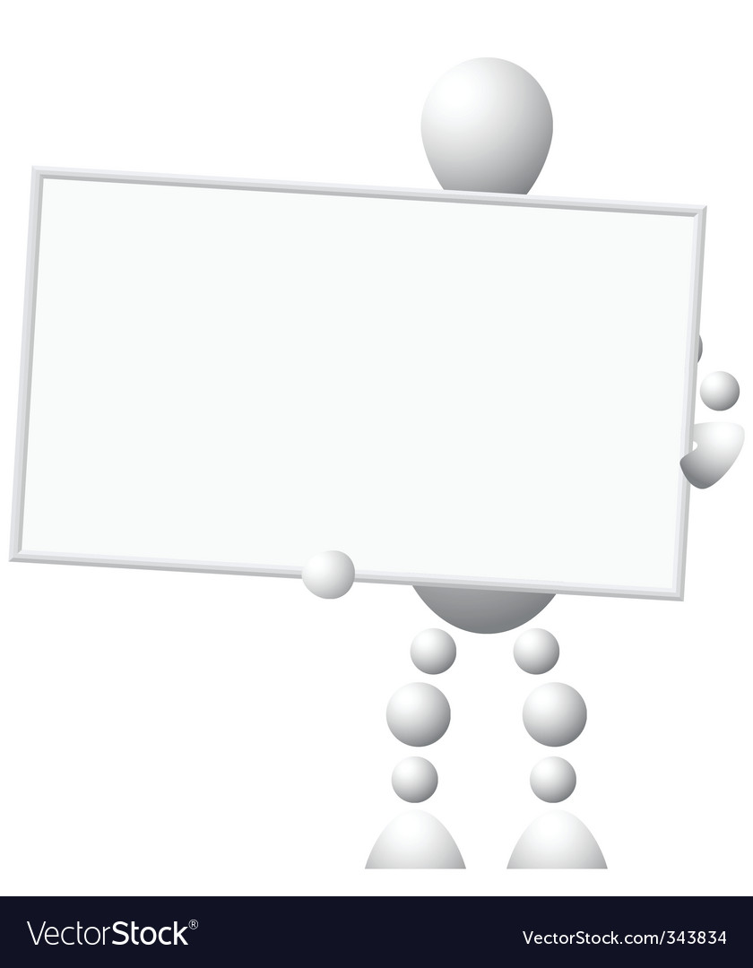 Man with empty board vector