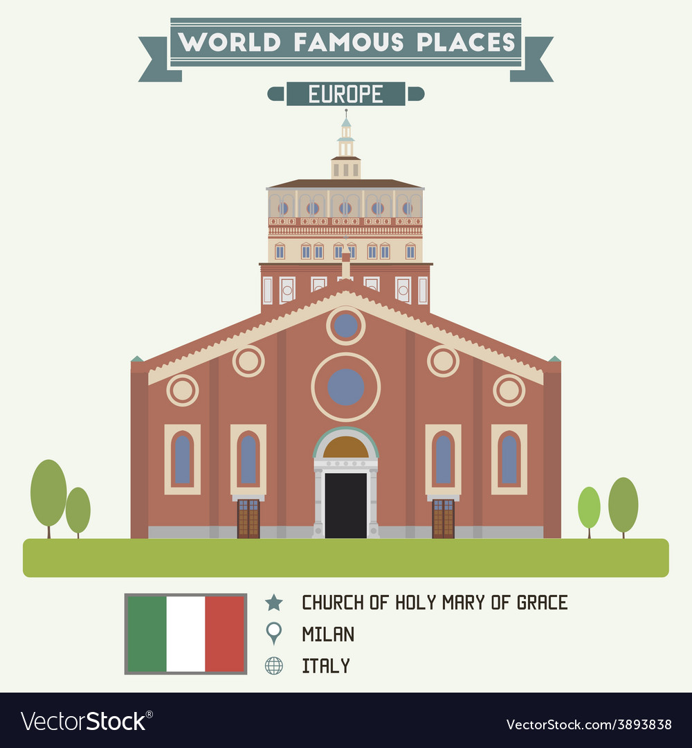 Church of holy mary of grace milan vector