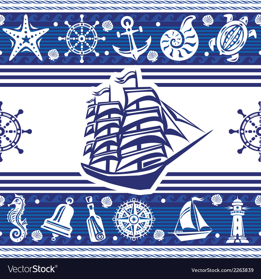 Banner with nautical symbols and ship vector
