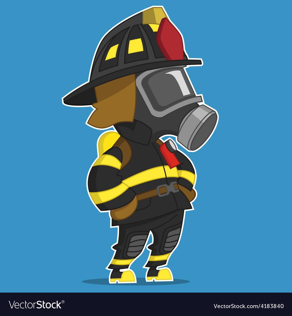 Firefighter stands vector