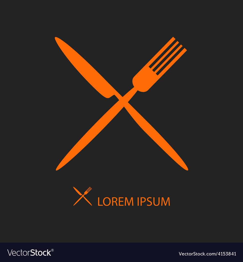 Crossed orange flatware on black vector
