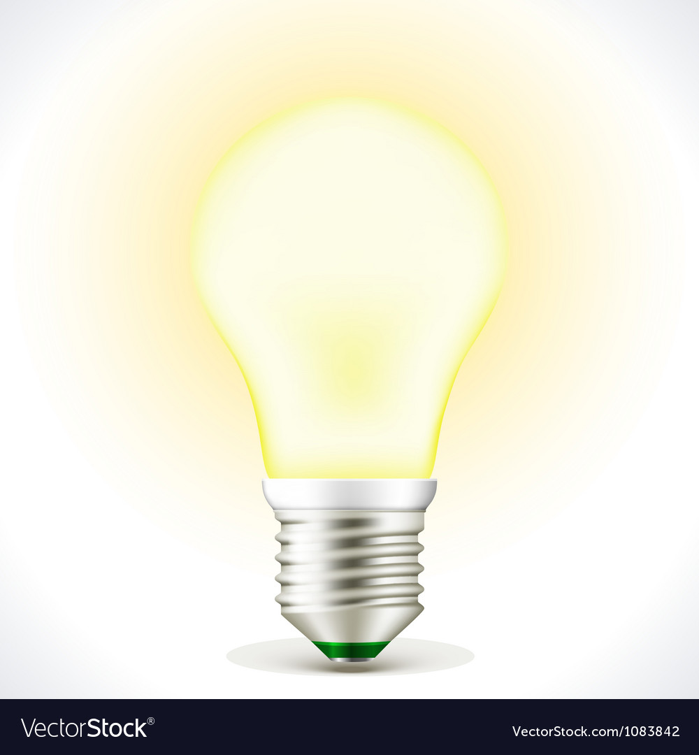Lighted energy saving bulb lamp vector