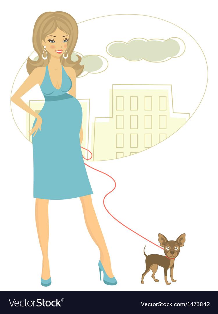 Preggy with little dog vector