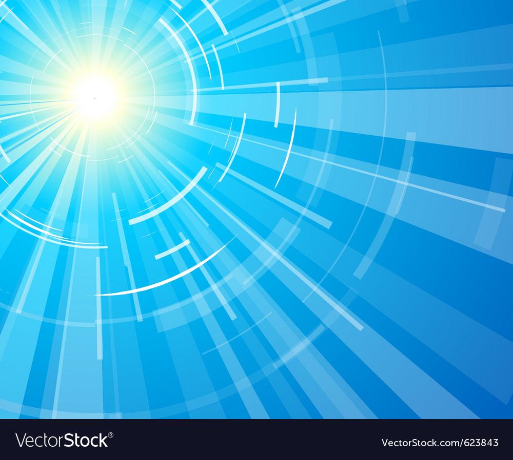 Sun on a blue sky vector