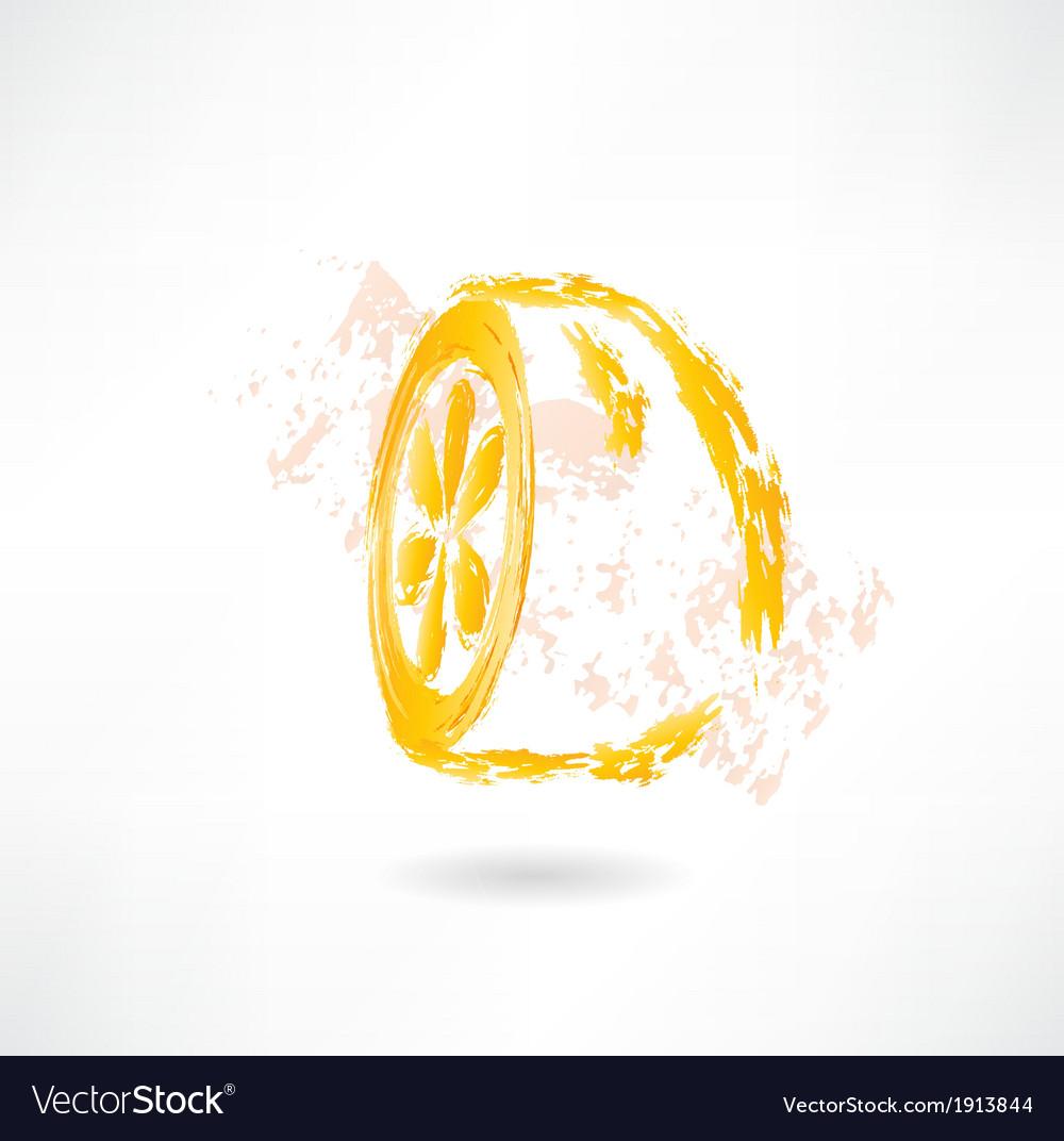Half lemon grunge icon vector