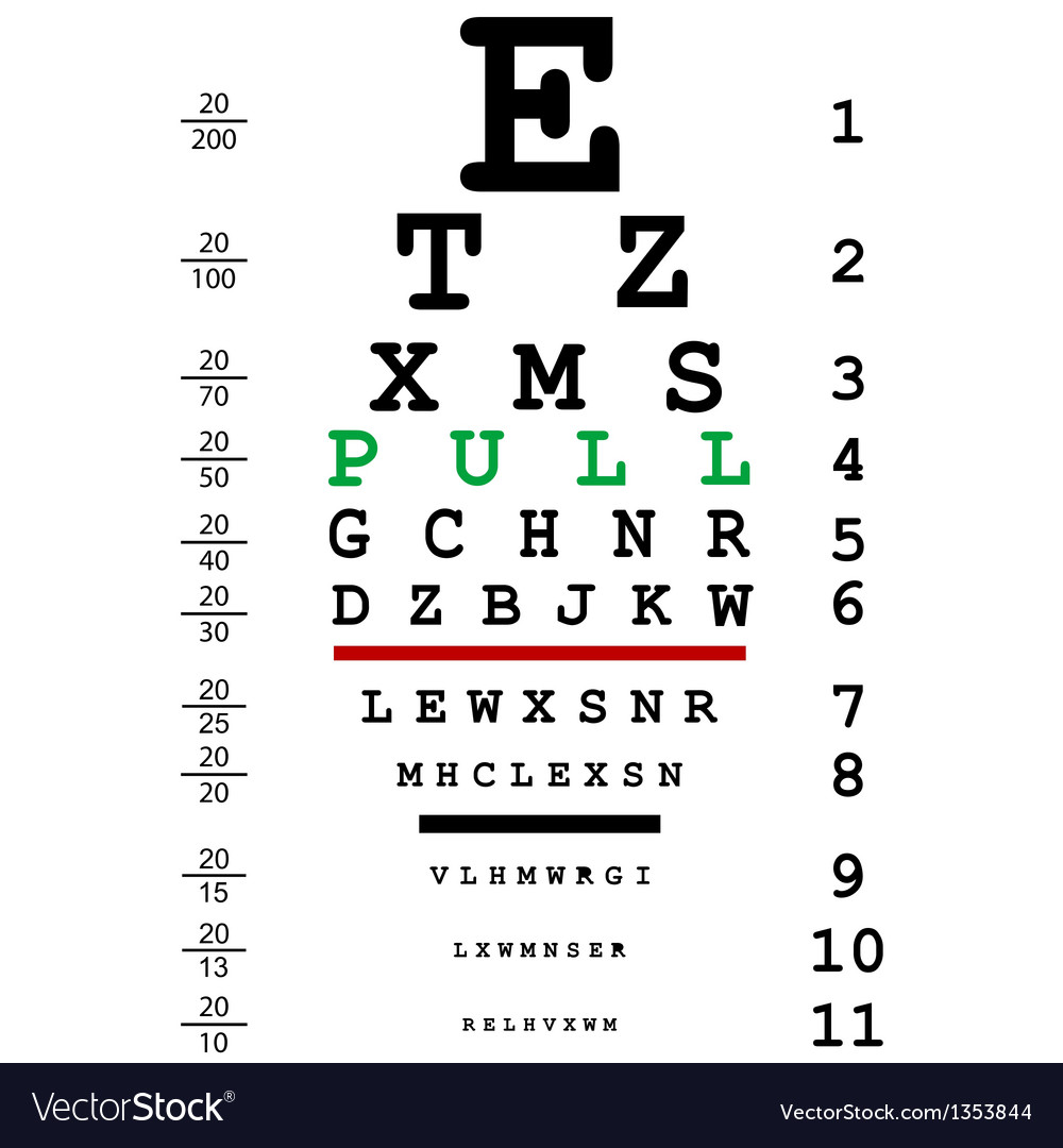 Optical eye test with pull message vector